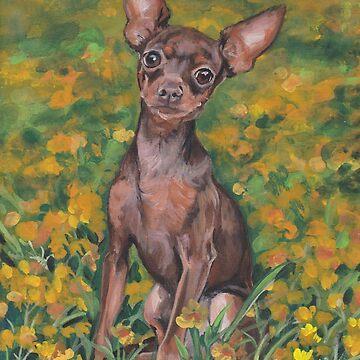 Russkiy russian Toy terrier Fine Art Painting by lashepard