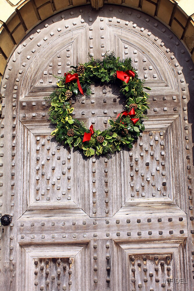 Christmas Wreath on antique door by INFIDEL