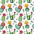 Blühender Kaktus des Aquarells pflanzt Muster von Tasha-zen