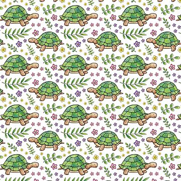 Tortoises and Flowers on White pattern by HazelFisher