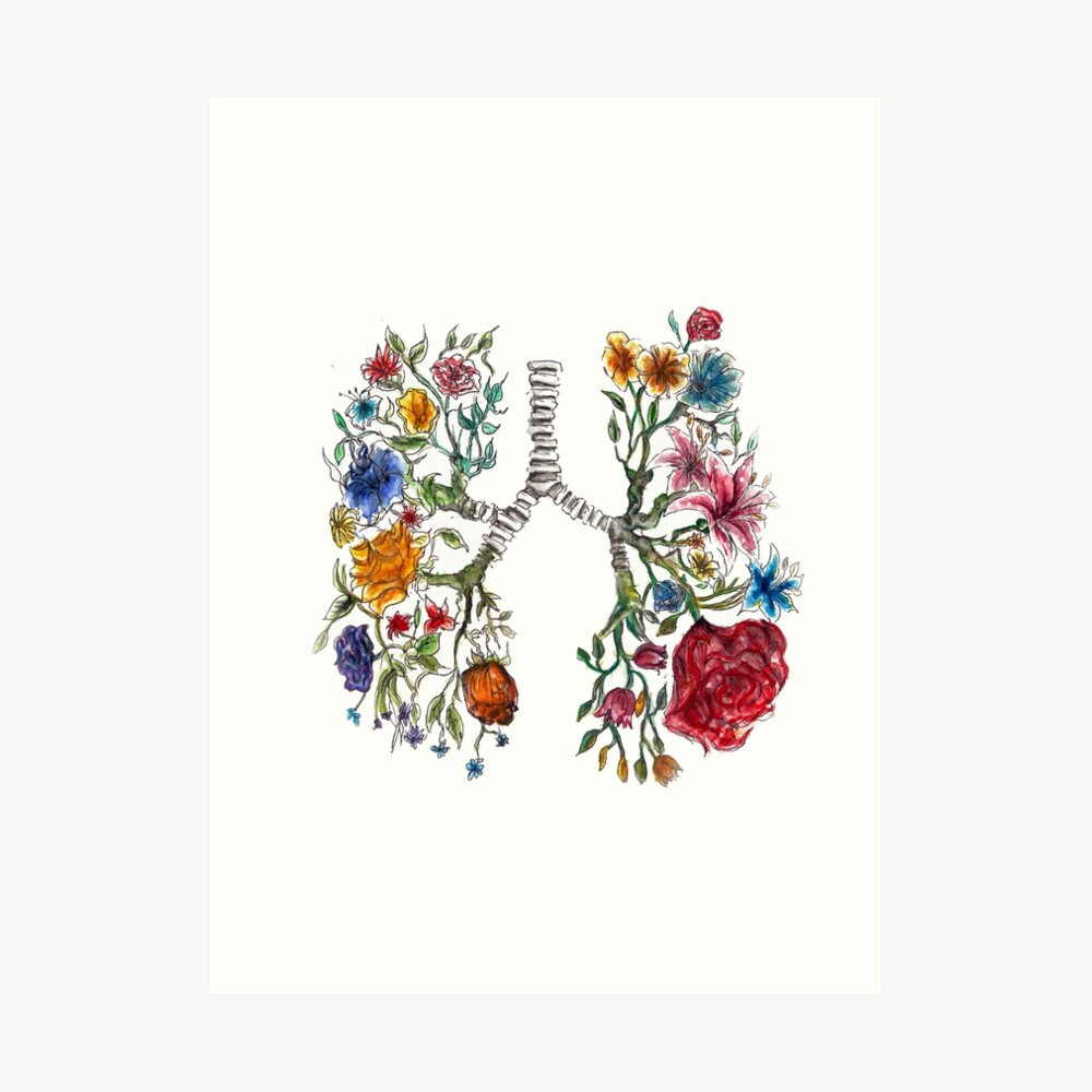 Lung Anatomy and Flowers Art  Art Print