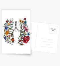 Lungenanatomie und Blumen Kunst Postkarten