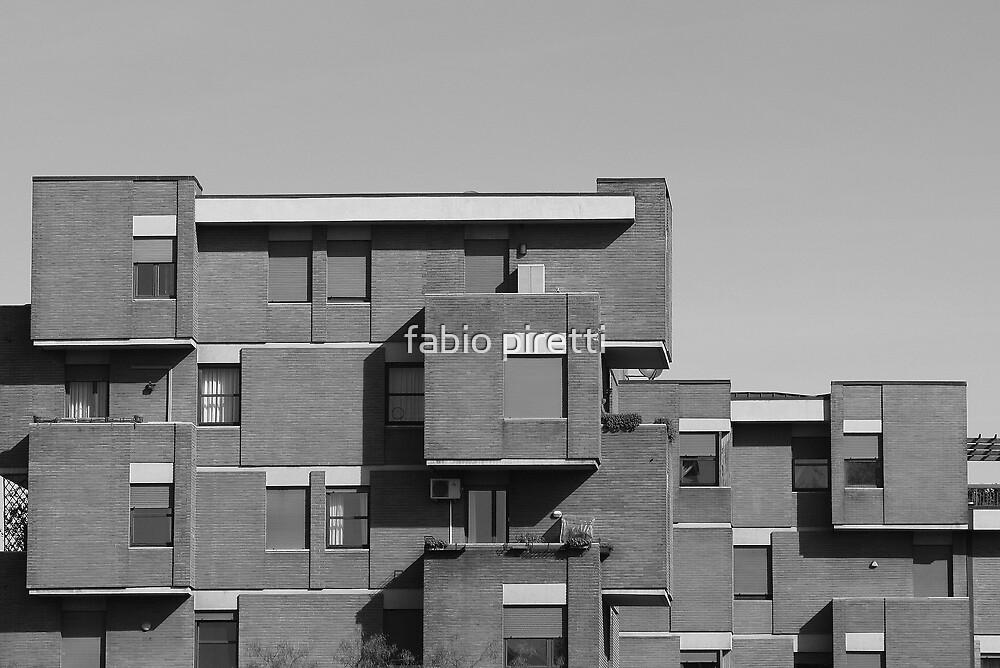 geometric architecture with blocks  by fabio piretti