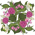 Pink Floral Paisley | Lotus Flowers,Orchids & Leaves by Margaret Dill