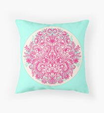 Spring Arrangement - floral doodle in pink & mint Throw Pillow