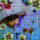 Floral Butterfly Botanical Garden W/ Gratitude Inspirational Quote by Margaret Dill