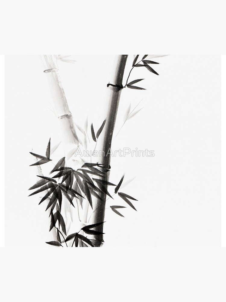 Three bamboo stalks with leaves artistic Japanese Zen Sumi-e painting on white art print by AwenArtPrints