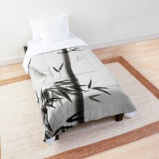 Three bamboo stalks with leaves artistic Japanese Zen Sumi-e painting on white art print Comforter