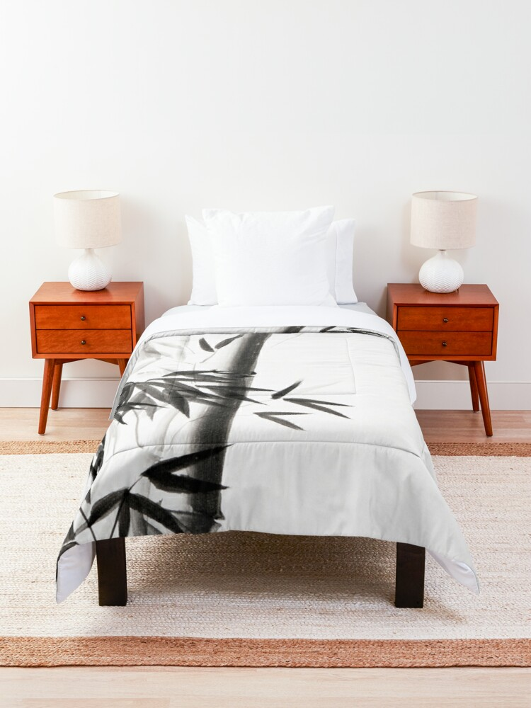 Alternate view of Three bamboo stalks with leaves artistic Japanese Zen Sumi-e painting on white art print Comforter