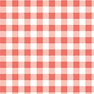 Coral Pink Buffalo Plaid Pattern by ValeriesGallery