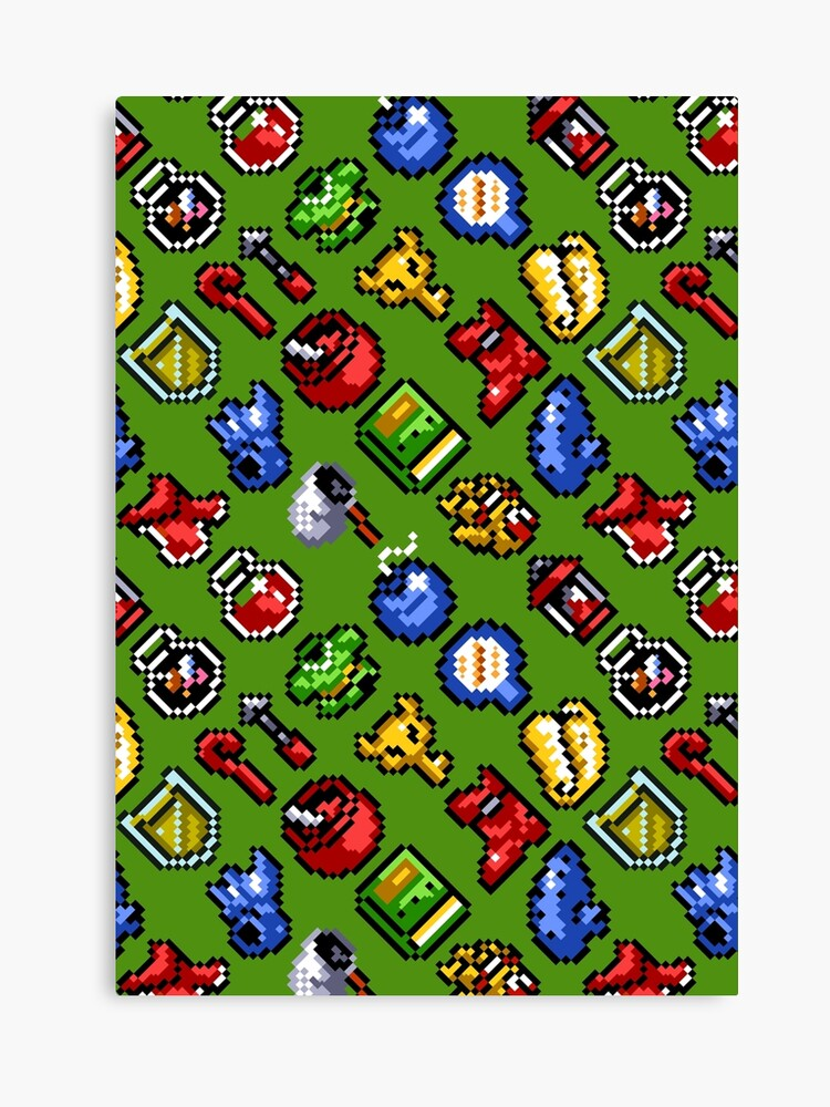 Legend of Zelda: A Link to the Past funny items pattern (gh) | Canvas Print