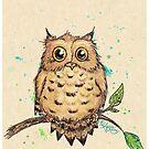 """""""Hoo, Me?"""" Baby Owl by Amber Marine, watercolor & ink, © 2019  by Amber Marine ~ Wildlife Artist ~ © 2004-2019"""