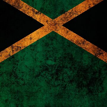 Jamaican Flag Old Weathered Distressed Worn Grunge Style by BennyBearProof