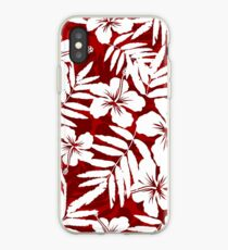 Tropical flowers red and white pattern iPhone Case