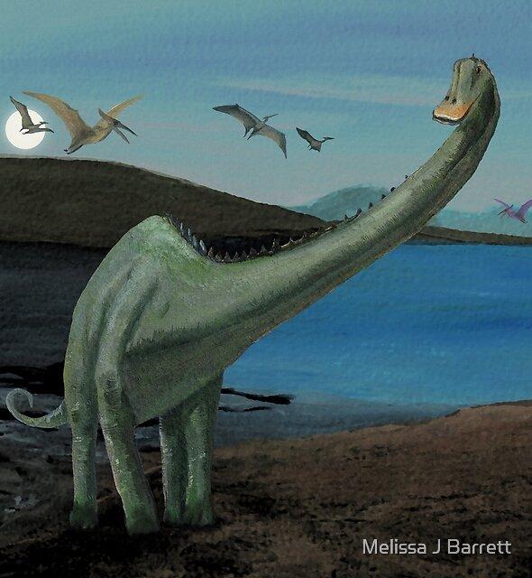 Dinosaurs and Full Moon at Dusk by Melissa J Barrett
