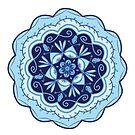 Hell und dunkelblau Türkis Marine Monochromatische Blumenmandala mit Wellenschliff von Jenndoodles