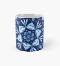 Light and Dark Blue Turquoise Navy Monochromatic Floral Mandala with Scalloped Edge Mug