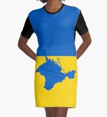 Ukrainian flag with Crimean pinensula Graphic T-Shirt Dress