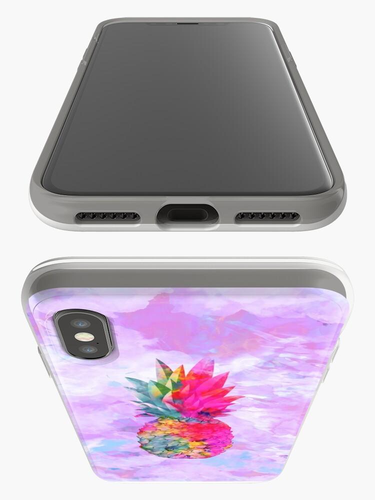 Vista alternativa de Funda y vinilo para iPhone Bright Neon Hawaiian Pineapple Tropical