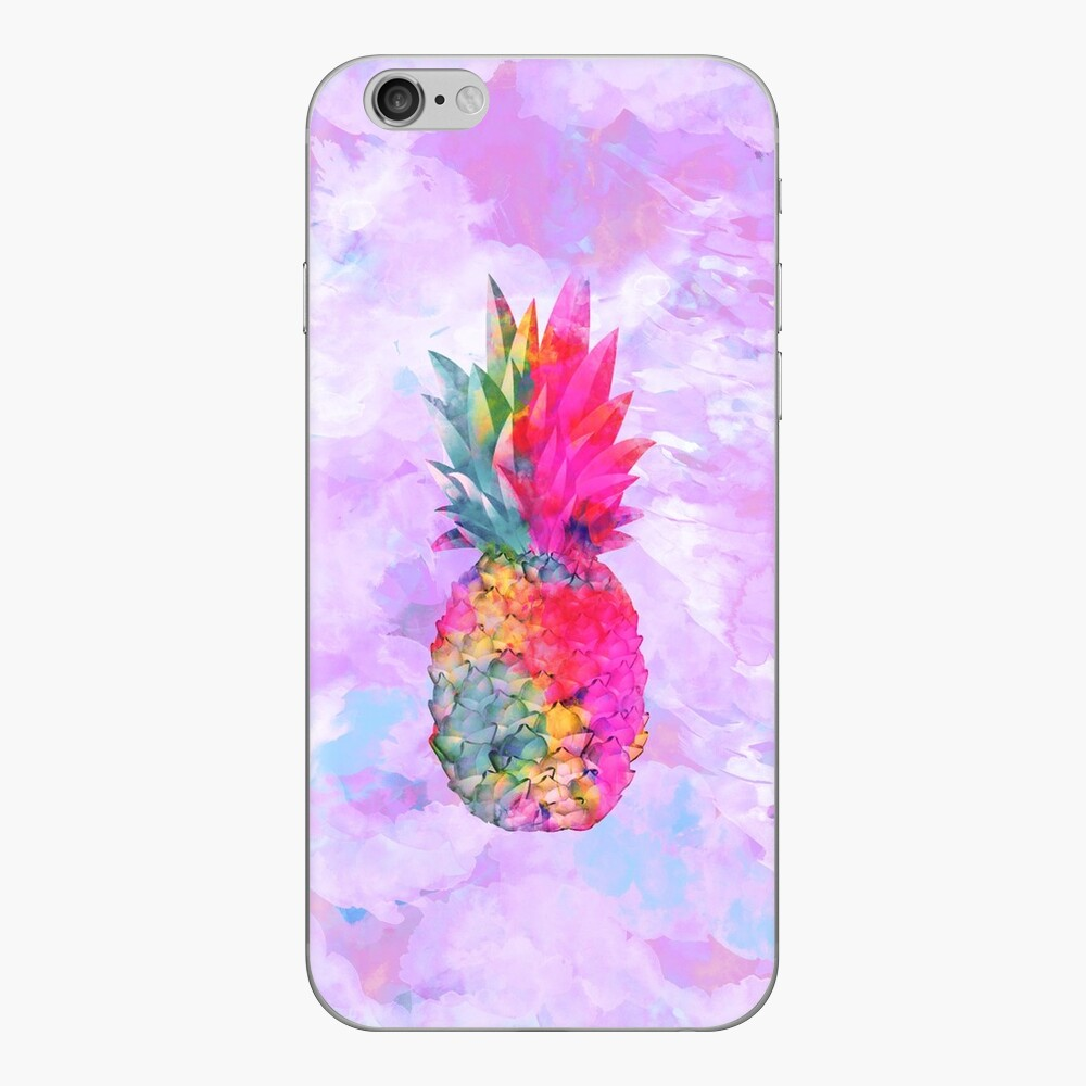 Helle Neonhawaiische Ananas tropisch iPhone Klebefolie