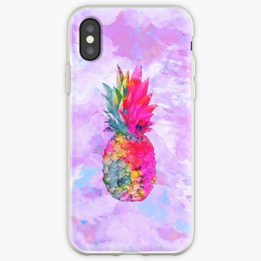 Bright Neon Hawaiian Pineapple Tropical Funda y vinilo para iPhone