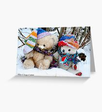 Vintage  and Erasmus Bear sit in the snow under the willows Greeting Card