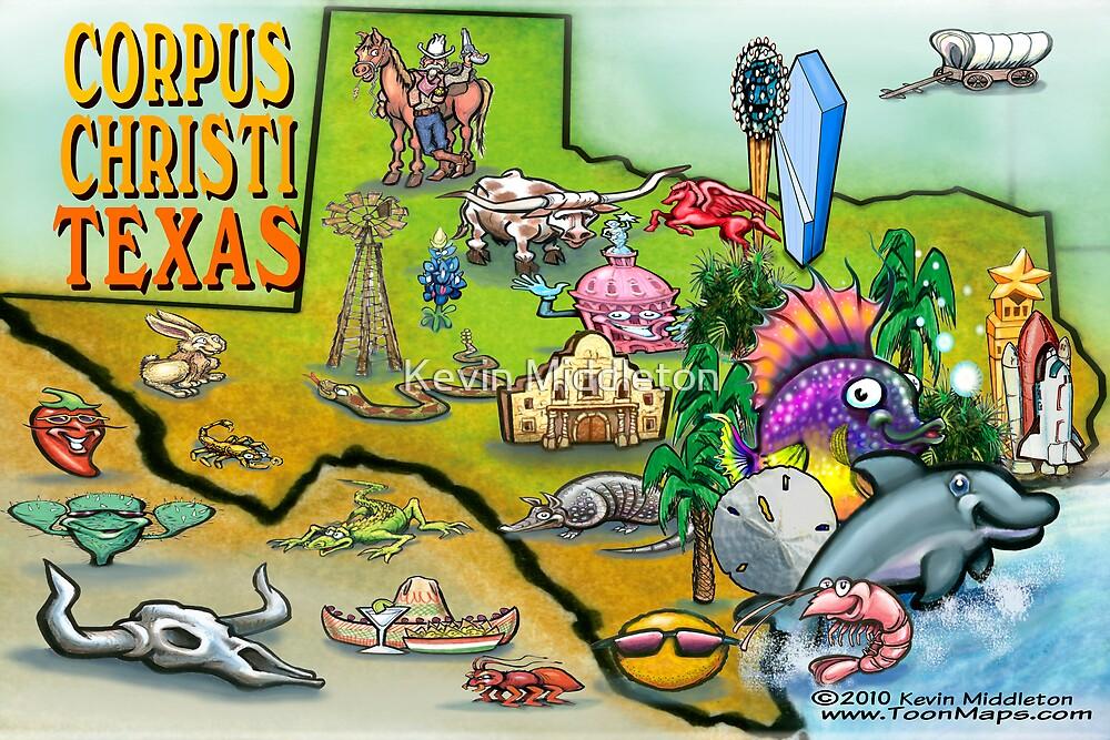 Corpus Christi Texas Cartoon Map by Kevin Middleton