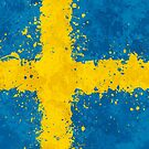 Sweden Flag Action Painting - Messy Grunge by Garyck Arntzen