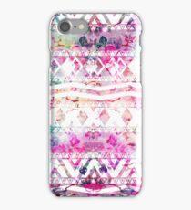 Modern aztec pattern watercolor floral nebula iPhone Case/Skin