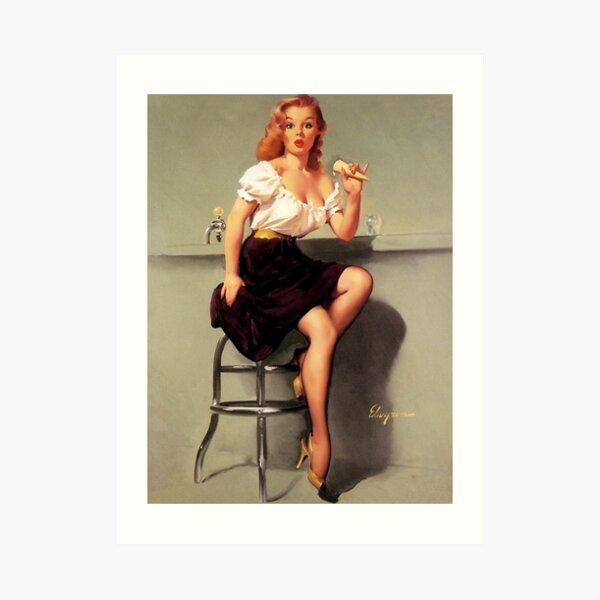 Gil Elvgren-Sitting Pretty Pinup Girl Canvas//Paper Print