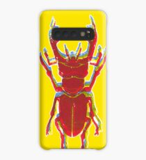 Stag Beetle Tricolore lino cut on yellow background Case/Skin for Samsung Galaxy