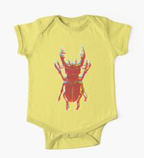 Stag Beetle Tricolore lino cut on yellow background Short Sleeve Baby One-Piece