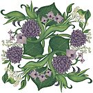 Lilac and Green Floral Paisley | Lotus Flowers,Orchids Leaves by Margaret Dill