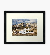 Split Mountain with Snow & Grass Framed Print