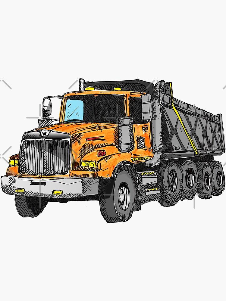 Construcción del conductor del camión volquete naranja de Statepallets