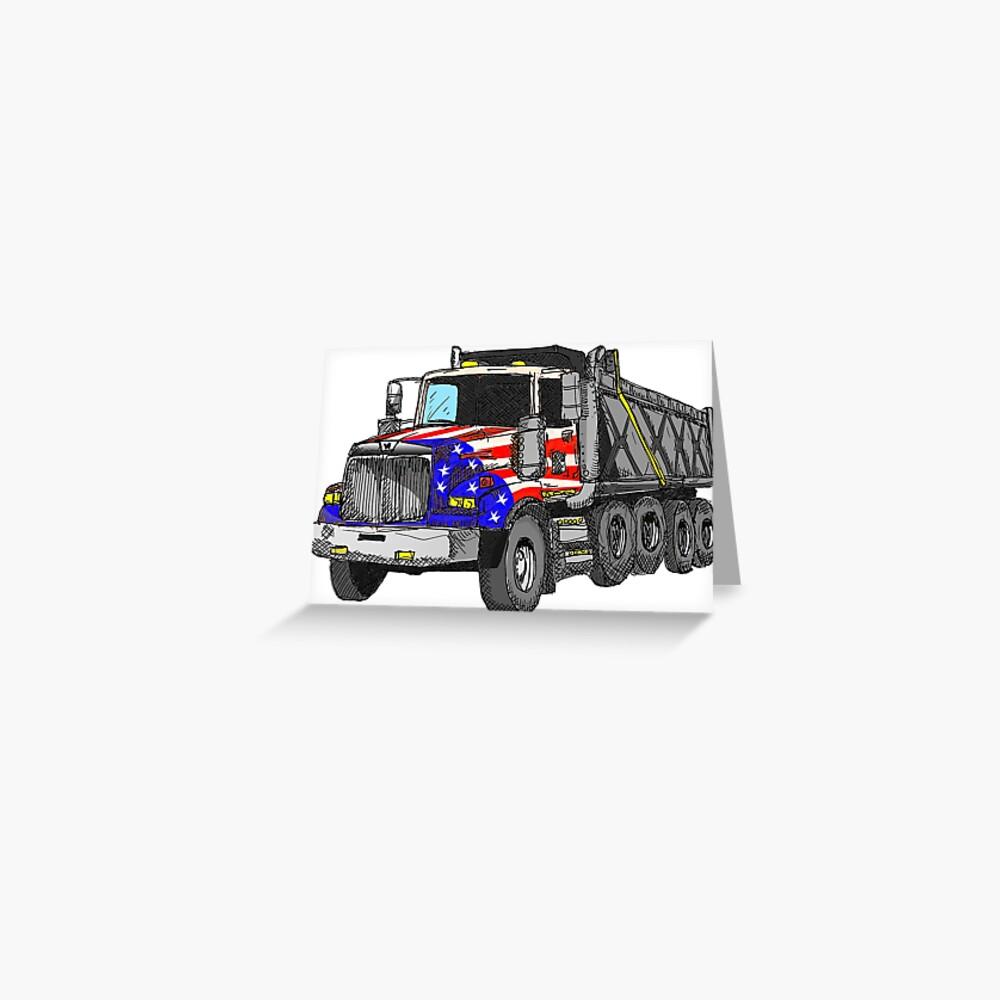 Camión volquete americano de Estados Unidos Tarjetas de felicitación