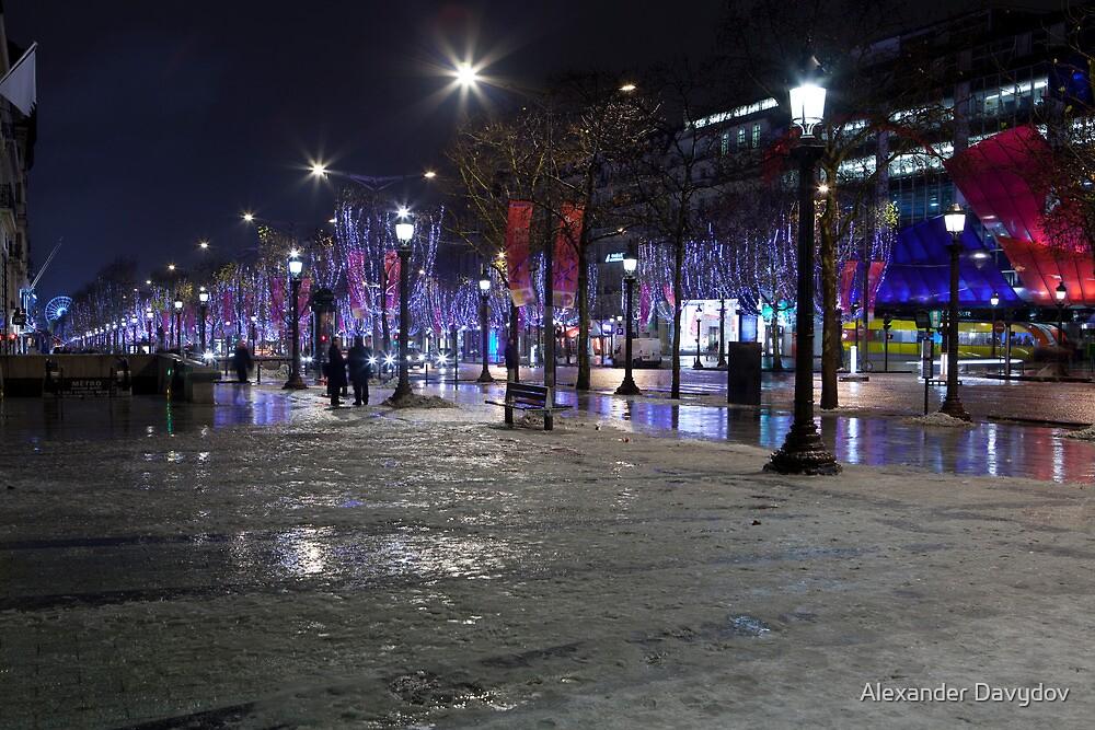Snow on Champs-Élysées by Alexander Davydov