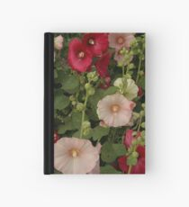 Pink and Red Hollyhocks  Hardcover Journal