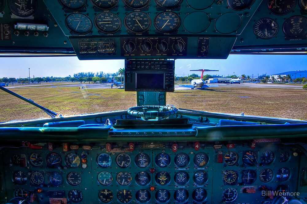 On a DC-7B Flight Deck by Bill Wetmore
