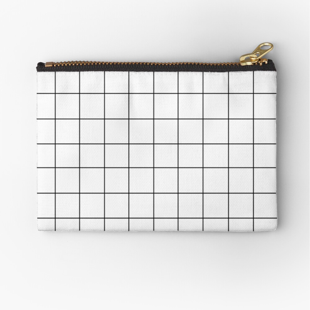 Black grid pattern on white background  Zipper Pouch
