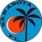 Sarasota Florida Vintage Tropical Palms Luggage Label by MyHandmadeSigns