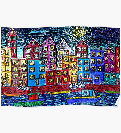 Two Tug Boats By Night Poster