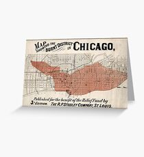 Chicago Map from 1871 after fire Restored Greeting Card