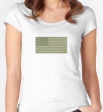 Camo Sternenbanner - USA Flagge militärische Camouflage Farben Tailliertes Rundhals-Shirt