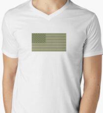 Camo Sternenbanner - USA Flagge militärische Camouflage Farben T-Shirt mit V-Ausschnitt für Männer