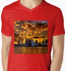 Sunset over Boston Harbor Men's V-Neck T-Shirt
