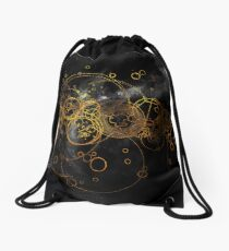 Time Lord Writing (black) Drawstring Bag