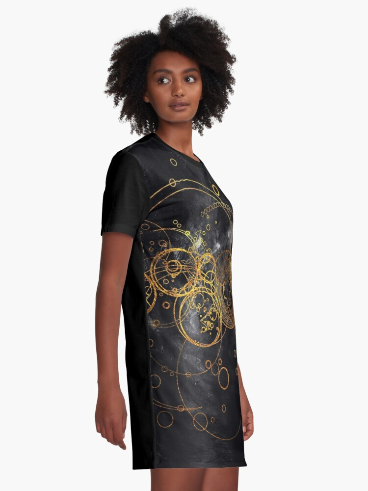 Alternate view of Time Lord Writing (black) Graphic T-Shirt Dress