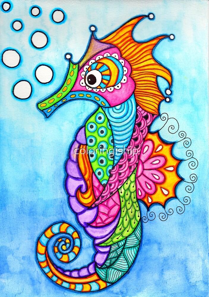 Seahorse Doodle  by coloringiship