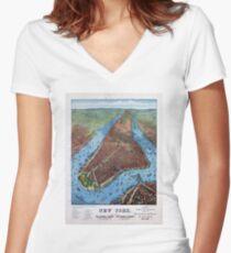 Camiseta entallada de cuello en V New York Vintage Aerial views Restored 1879